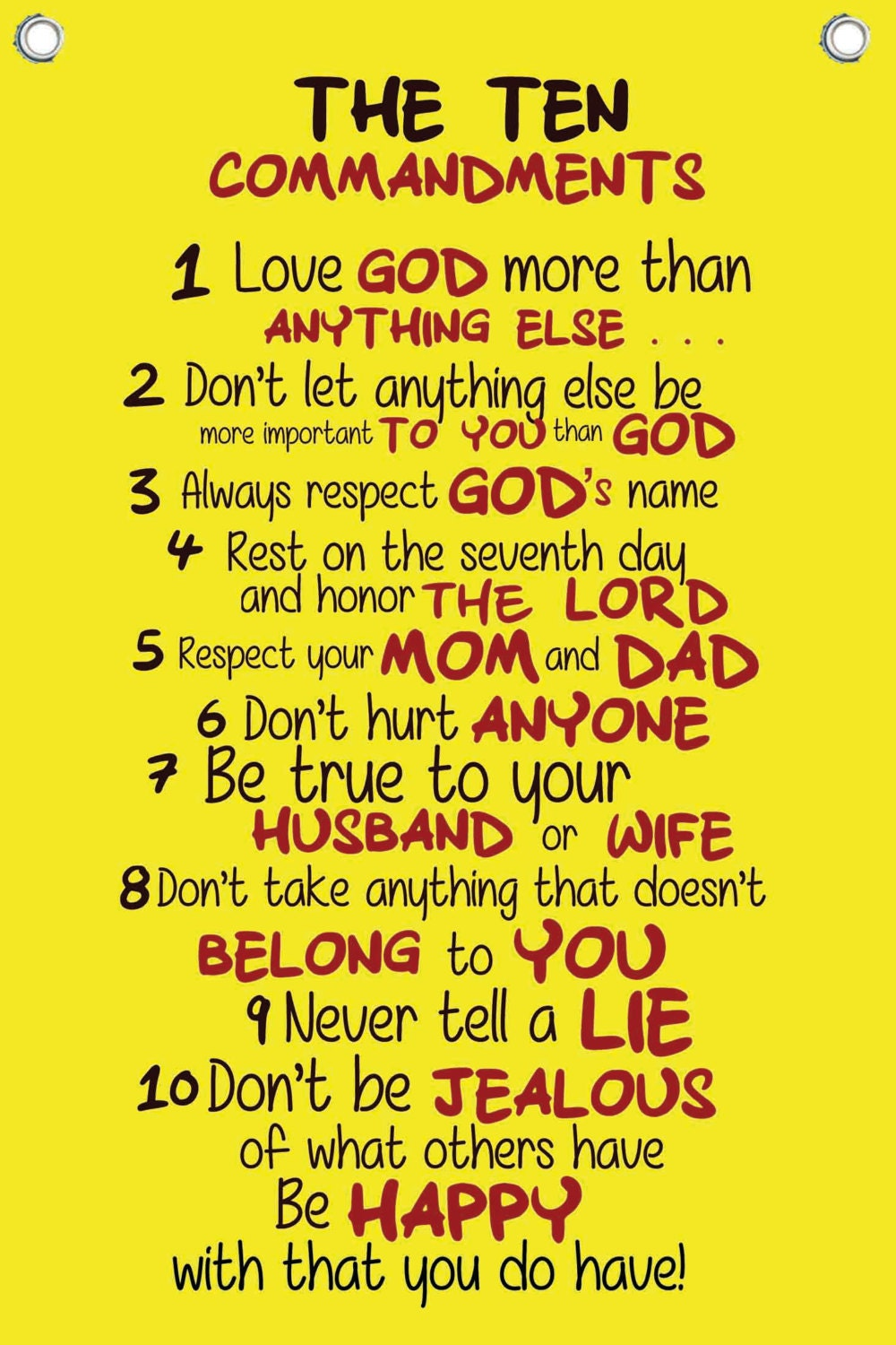 The Ten Commandments for Kids Wall Quotes Canvas Banner