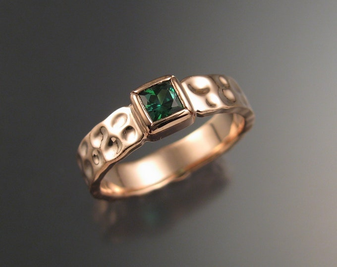 Green Tourmaline square Moonscape ring Emerald substitute handcrafted in14k Rose Gold in your size