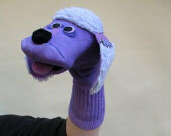 Handmade Purple Poodle Sock Puppet