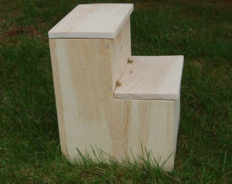 Stained Child Step Stool  Child Chair    Storage Step Stool. Unpainted Step  Stool