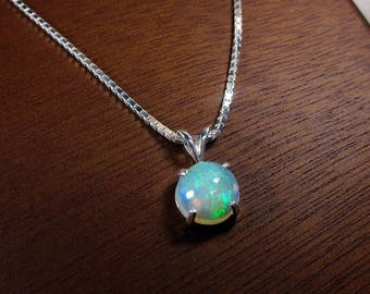 Genuine Opal, Opal Necklace, October Birthstone, Opal Jewelry, Opal Pendant, Gemstone Necklace, Round Opal, Rainbow Opal, Ethiopian Opal
