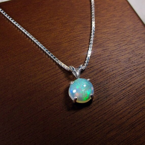 Genuine opal opal necklace october birthstone opal jewelry like this item mozeypictures Choice Image