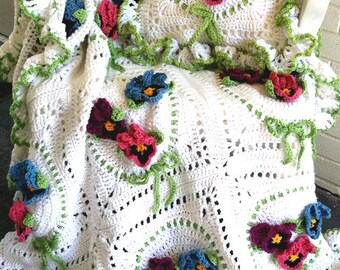 Pansy Afghan & Pillow Set Crochet Pattern PDF