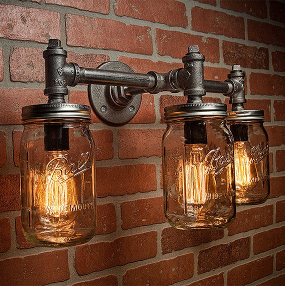 Industrial Pipe Wall Light: Industrial Lighting Lighting Mason Jar Light Steampunk
