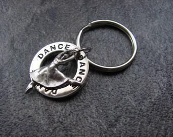 Dance Keychain: Silver Ballerina Dancer Charm with Rotating DANCE Ring/Recital, Birthday, Graduation, Christmas Gift/Dance Team, Dance Mom