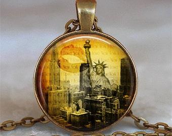New York Skyline pendant, New York necklace New York City pendant Statue of Liberty travel jewelry key chain key ring key fob
