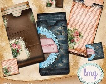 """Junk Journal Digital Envelopes - """"Vintage Memories"""" - Vintage, Journal Cards, Coin Envelopes, Pocket Envelopes, Instant Download, CU"""