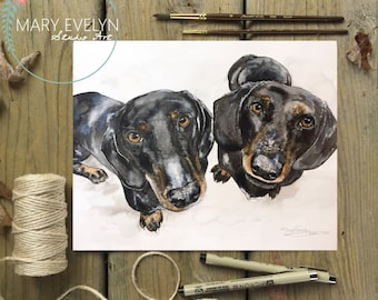 Whimsical Custom Watercolor Pet Portrait-2 Subjects
