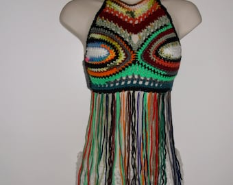 Hand Crochet Fringe Halter Top, Festival Top, Long Fringe, Festival Clothing, Hippie Chic, Bohemian, colorful, rainbow crochet top