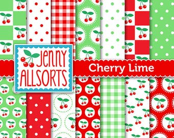 Cherries & Lime Digital Scrapbooking Paper Pack 14 printable pages Instant download, digital paper tags cards invites background papercraft