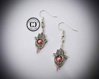 Hamsa Pink Pearl Earrings