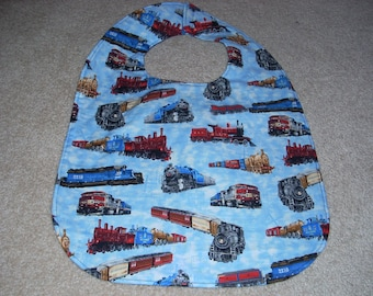 Trains Print  Adult Size Bib / Clothing Protector - Reversible