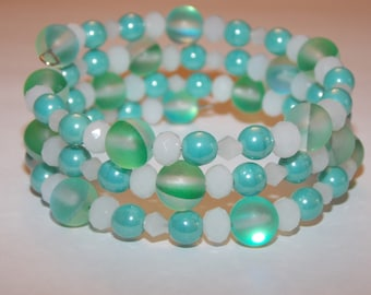 Blue Green Turquoise Luster Czech Glass White Crystals Memory Wire Wrap Bracelet