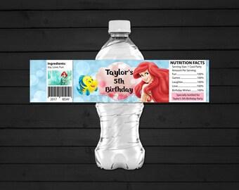 Personalized Ariel The Little Mermaid Water Bottle Label Printable Birthday Party Baby Blue Aqua Pink Bokeh Printable DIY - Digital File