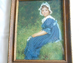 "Darling GIRL in BLUE DRESS Litho Print White Lace Bonnet & Collar Long Sash Daisy Bouquet, Wood Period Gilded Frame 8.5"" by 10.5"" Wall Decor"