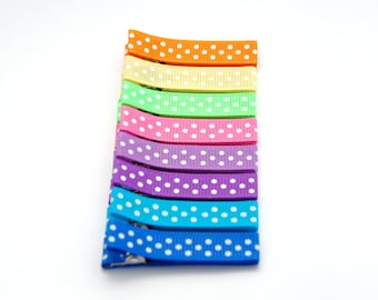 Baby , girl , toddler fully lined double prong alligator hair clips in orange , yellow , bright green , pink , purple , blue with white dots