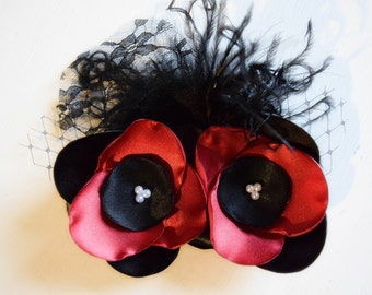 Satin Red Rose Hair Clip - Red and Black Hair Clip - Red and Black Wedding - Romantic Wedding - Bridal Hair Accessories - Dance Hair Clips