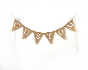 Custom Burlap Bunting, Name Banner, Personalized Burlap Banner, Rustic Wall Decor