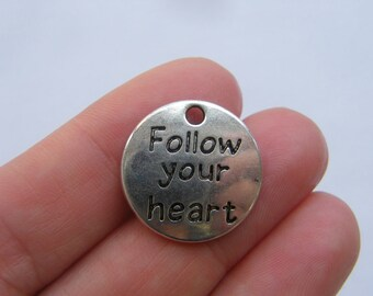6 Follow your heart charms antique silver tone M941