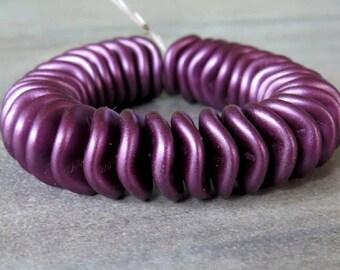 Bordeaux 12mm Ripple Czech Glass Bead : 10 pc Purple Pearl Wavy Disc Bead