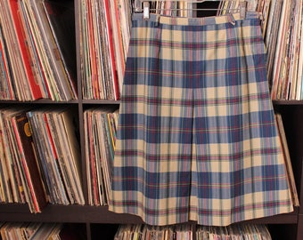 vintage blue plaid skirt, knee length with front pleat, APPROX size medium large