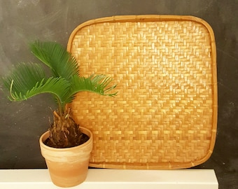 Vintage woven square basket, woven wall hanging, woven tray