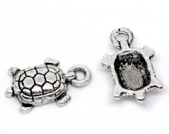 5 turtle handmade charms in silver