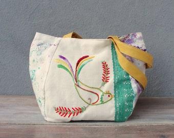 Birds come, Spring comes- Vintage Embroidery, Battik and Leather Bag.