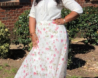 Spring breeze pleaded skirt
