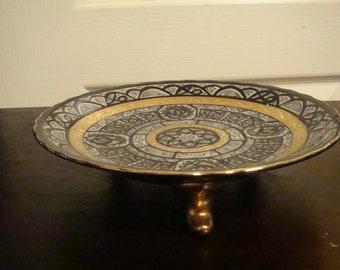 Eclectique Kai Kai Tajimi Japan Black and Gold Plate