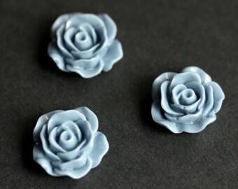 Blue Flower Refrigerator Magnets. Blue Rose Magnets. Set of Three. Cadet Blue Rose Flower Magnets. Handmade Home Decor.