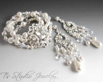 Pearl and Crystal Bridal Cuff Bracelet & Chandelier Earrings Set
