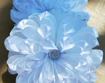 Chrysanthemum bow, Hair flower bows,  White bow, White chrysanthemum, White mum bows