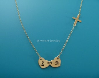Heart Initial and Cross Necklace - Sideways Cross Necklace Gold - Initial Necklace - Personalize Necklace - Mothers Day Gift Necklace