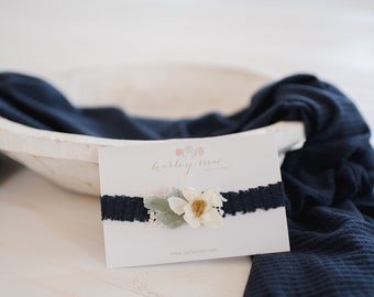 Newborn Navy Wrap Prop Set - matching headband