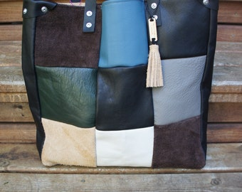 Sweet Butter Color-Blocked Leather Tote with Black Leather Straps