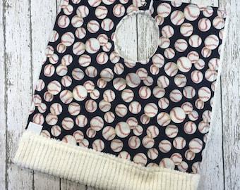 Baseball Bib - Big Pocket Bib - Crumb Catcher Pocket - Navy Blue Toddler Apron Bib - Special Needs Bib - First Birthday Bib - Baby Bibs
