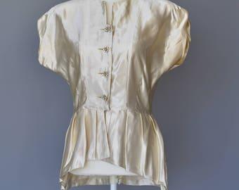 Luxurious 1940s Silk Satin Button Down Blouse