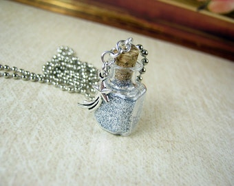 Stardust Glass Bottle Necklace Charm - Star Dust Vial - Square Pendant Necklace - Shooting Star