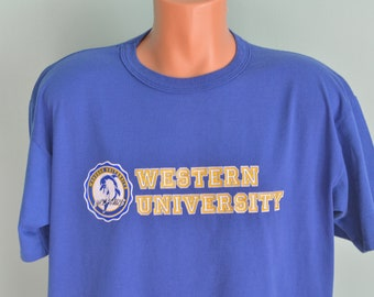 90s T-Shirt Western University Dolphins Blue Chips Movie Nick Nolte Shaquille O'Neal Basketball Drama Film Russell Athletic XL Blue Tee