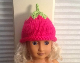 """Cute Little Hand Knit Hot Pink Berry Hat for an American Girl Doll AG or any 18"""" Doll at NeedlesandPinsShop"""