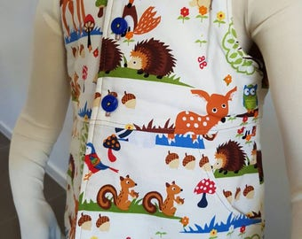 Size 2 handmade padded vest forest friends