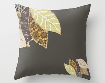 Decorative pillow with leaves 16x16, 18x18, 20x20 Only Cover or pillow + cover, pillow case, leaves pillow, leaf black pillow throw pillow