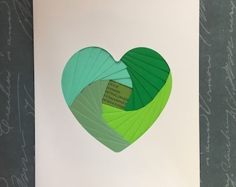 Iris folded heart shape greeting card - mixed green patterned papers