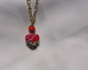 MOTHER'S DAY GIFT!  Beachy Swirls Heart Lampwork Bead Pendant Necklace