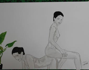 """drawing of nude female erotic portrait """"Couch"""""""
