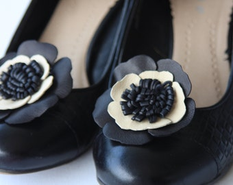 Black and cream leather shoe flowers, shoe clips, black and cream flowers, gifts for her, wedding flowers, shoes, handmade to order  Ruby62