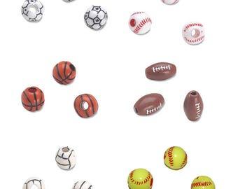 Team Sport Beads - 12mm - 60 per pkg - Soccer - Baseball - Basketball - Football - Volleyball - Softball 19820-6 fnt