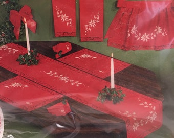 EMBROIDERY KIT - Progress Stamped Christmas Table Runner Red, White Poinsettia , Holly