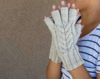 Cable knit fingerless gloves oatmeal womens gloves hand warmer womens knitted gloves mittens gift for her womans gift birthday Chrismas